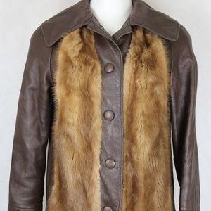 Vintage Brown Leather and Mink Shawl Collar Jacket